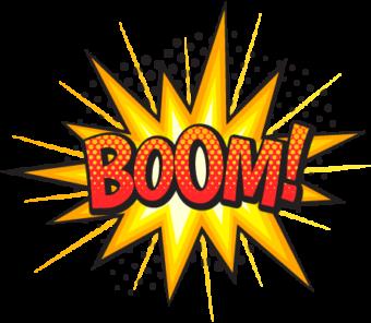 BOOM! Шаблон взрыва в стиле комикс