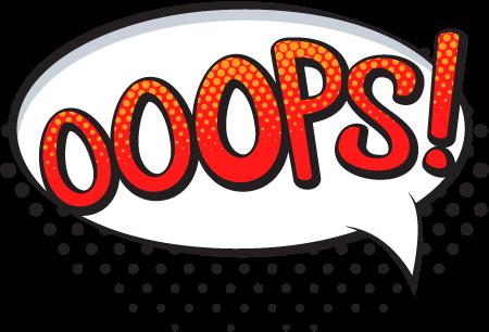 Надпись «OOOPS» в стиле комиксов шаблон