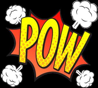 Шаблон облачко с текстом POW в комиксах