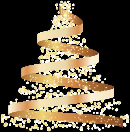 елка из золотой ленты