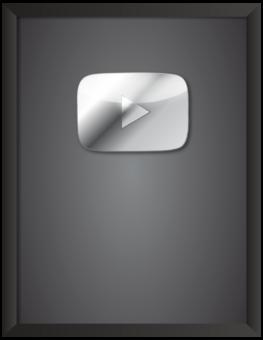 серебряная кнопка ютуба в рамке