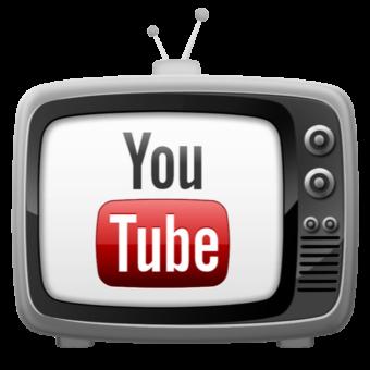 Эмблема ютуба в телевизоре