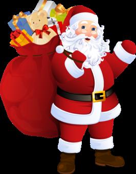 Санта Клаус с большим мешком подарков