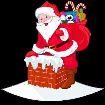 Санта лезет в трубу