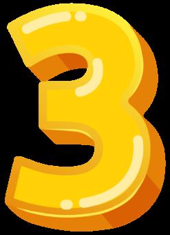 цифра 3 желтая