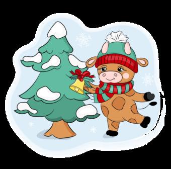 бык наряжает новогоднюю елку