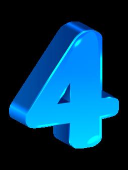 цифра 4 синяя