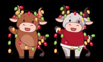 Новогодние быки с гирляндами