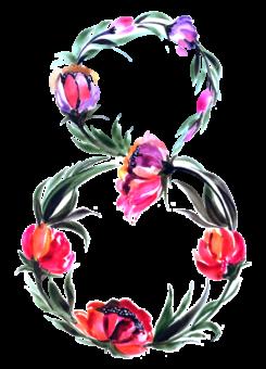 8 марта акварель цветы