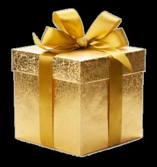 Подарок в золотой упаковке