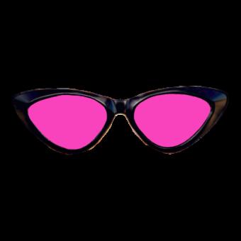очки розовые в черной оправе