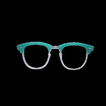 прозрачные очки с голубой оправой