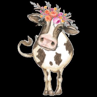 корова с цветами на голове