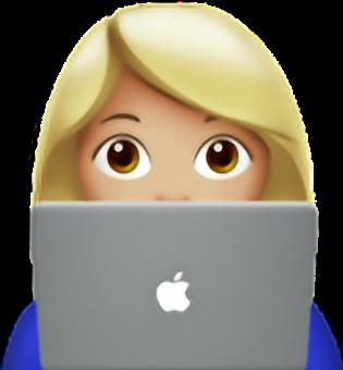 Смайлик девушка ноутбук