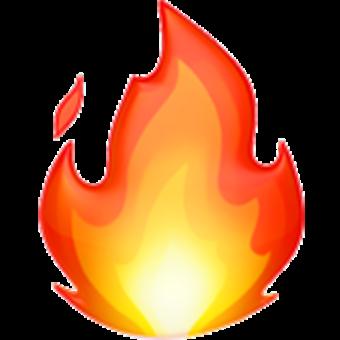 Смайлик огонь оранжевый желтый