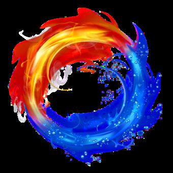 огонь и вода красивая иллюстрация