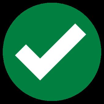 Зеленая галочка в круге. Выполнено иконка