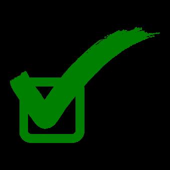 Флажок, Зеленый правильный знак, значок флажка, галочка