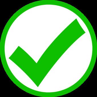 зеленая галочка в белом круге