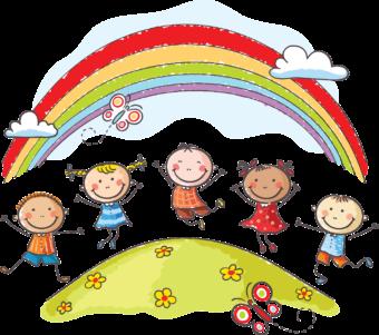 Дети, радуга, лето