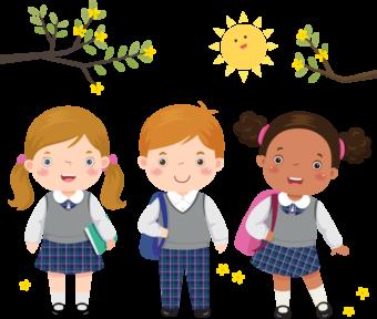 Дети идут в школу клипарт