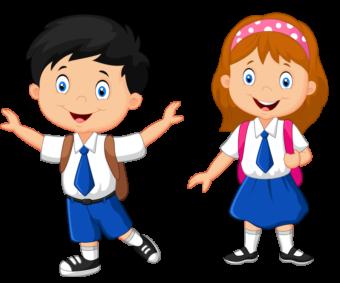мальчик и девочка, школьники