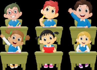 Дети за партами, урок