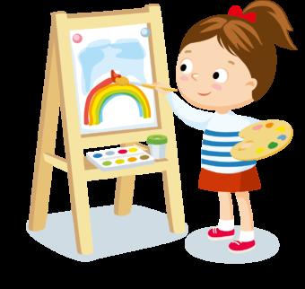 Девочка рисует на мольберте