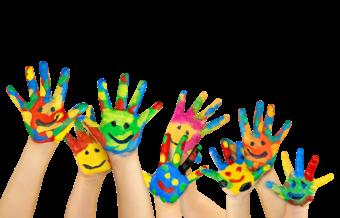 Детское творчество, ладони в красках